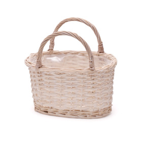 Basket oval with handles 21x11cm H11.5cm white