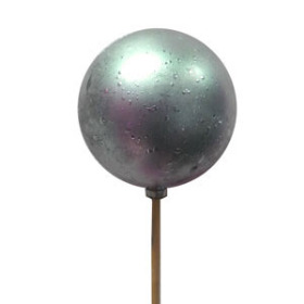 XMAS BALL FESTIVE 2.5 IN ON 20 IN STICK SILVER