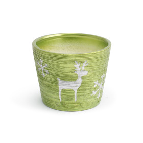 Ceramic Pot Caribou  ES10.5 green