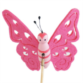 Butterfly Felt 9cm on 50cm stick pink