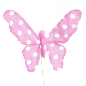 Butterfly Satin 8cm on 50cm stick pink