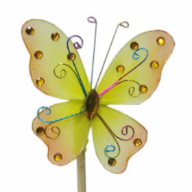 Butterfly Oriënt 7cm on 50cm stick yellow