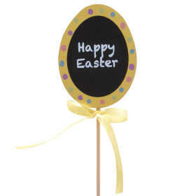 Egg Happy Easter 6cm on 50cm stick yellow