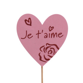 Heart Je t'aime 6cm on 10cm stick pink