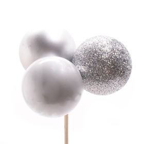 Christmas Balls Trio Mixed 4cm on 50cm stick silver