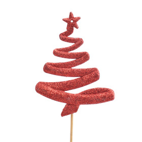 Christmas Tree Luckz 11cm on 50cm stick red