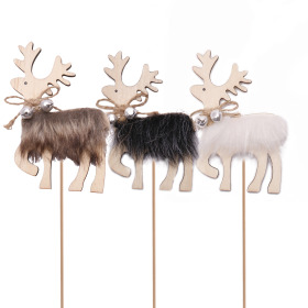 Reindeer Harry 10cm on 10cm stick assorted x3