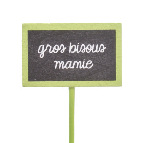 Gros Bisous Mamie 5.5x3.5cm on 15cm stick green
