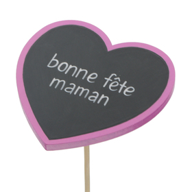 Heart Bonne Fête Maman 8cm on 50cm stick FSC Mix fuchsia