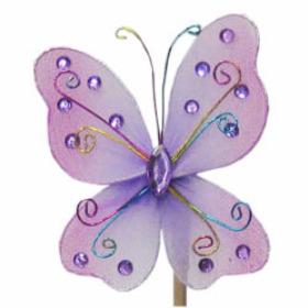 Butterfly Oriënt 7cm on 15cm stick lilac