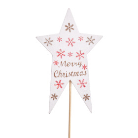 Star Nordic 7x11cm on 10cm stick white