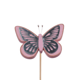 Butterfly Tess 9cm on 50cm stick pink
