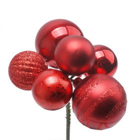 Christmas Balls Assorted x6 on 50cm stick red