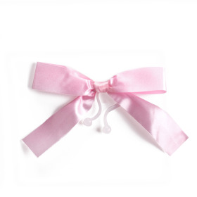 Plastic bow 10cm with clip pink