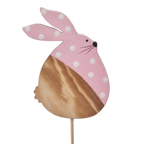 Polka Dot Bunny 9cm on 10cm stick pink