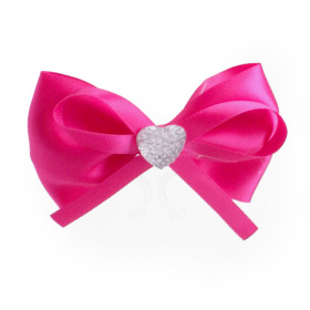 Diamond Bow 8cm with clip cerise