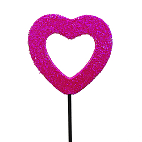 Heart Medium Open Glitter 2.75 in on 20 in stick hot pink
