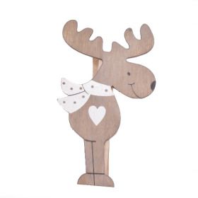 Deer Love 9cm on clip gray/white