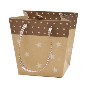 Carrybag Stars 15/13x11/10x14cm brass