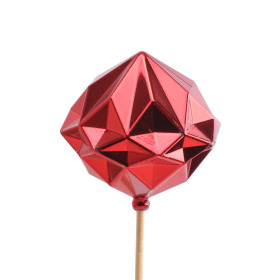Christmas Ball Diamond 8cm on 50cm stick red