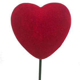 Heart Flocked 12cm on 50cm stick red