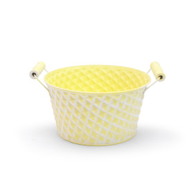 Zinc Bowl Diamond Ø8.8 H4in washed yellow
