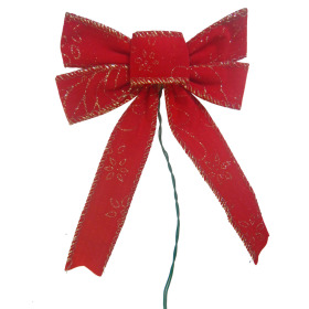 Xmas Bow 5 in on Wire