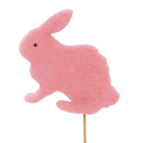Easter Bunny Flocked 11cm on 50cm stick pink