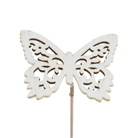 Butterfly Anna 7.5cm on 50cm stick white