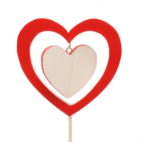 Wooden Heart In Heart 9cm on 50cm stick red