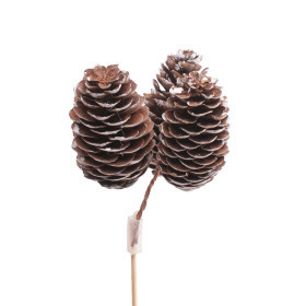 Spruce Cones x3 6-8cm on 50cm stick natural with white tips