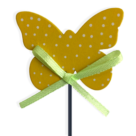 Butterfly Dots Small on 8in stick yellow