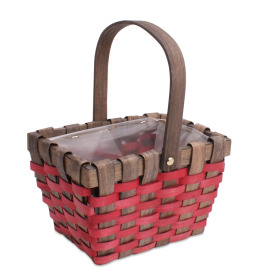 Basket Stripes rectangular with handle 20.5x14cm Red