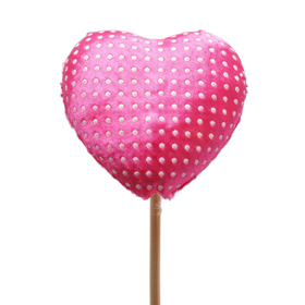 Heart Satin Love 7cm on 50cm stick pink