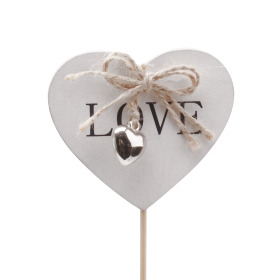Heart Little Love 7cm on 50cm stick white