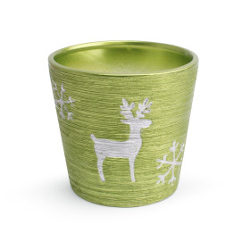 Ceramic Pot Caribou  ES12 green