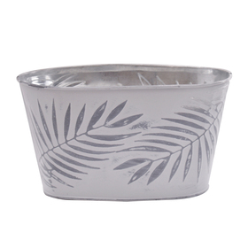 Pot Zinc Oval Urban Jungle 11x6x5.5 in gray