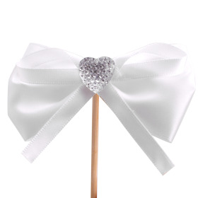 Diamond Ribbon 8cm on 15cm stick white