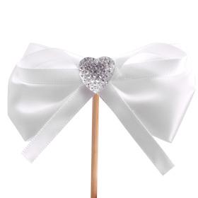Diamond Ribbon 8cm on 15cm stick white