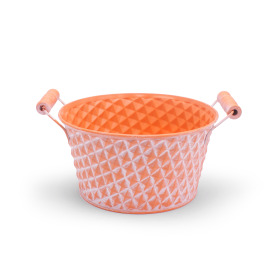 Zinc Bowl Diamond Ø8.8 H4 in washed orange
