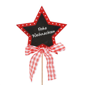 Star Frohe Weihnachten 6cm on 15cm stick red