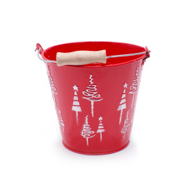 Zinc Bucket X-Mas Tree Ø13.2 H12cm red
