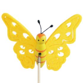 Butterfly Felt 7cm on 15cm stick yellow