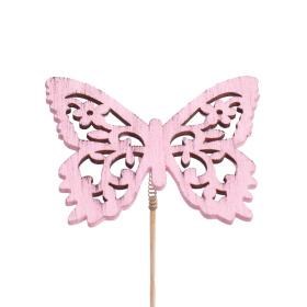Butterfly Anna 2.9 in on 20 in stick pink