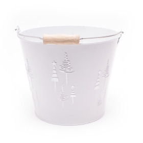 Zinc Bucket X-Mas Tree Ø18.5 H14.5cm white
