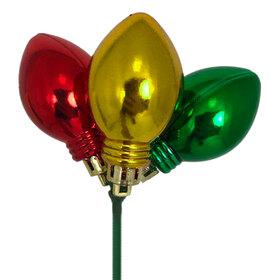 Xmas Light Bulbs Trio 1.18x2in on 20in stick