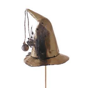 Heksenhoed Duvessa 13cm op 50cm stok zwart/goud