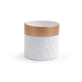 Ceramic Pot Dimples ES12 white/gold