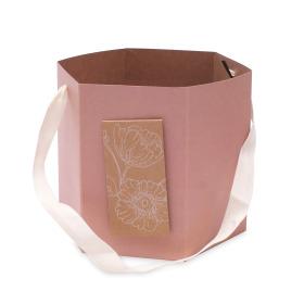 Carrybag Floral Gift  Ø6x6 in pink