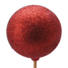 Xmas Ball Glitter 2.5 in on 20 in stick red